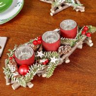 Trio of 3 Frosted Red And Silver Tea Light Candle Holders Woodland Christmas Centrepiece